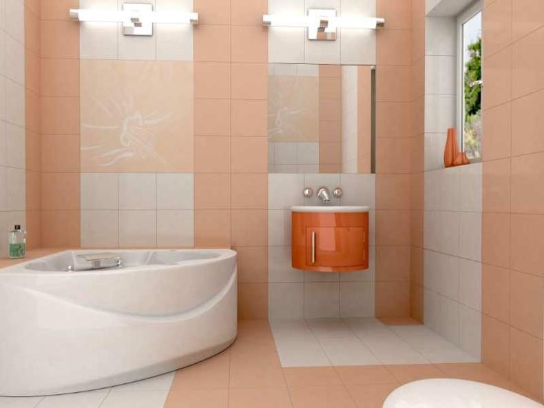 baño diseño moderno color salmon