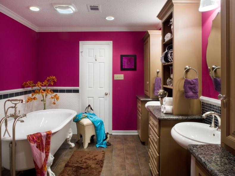 baño estilo moderno paredes rosa