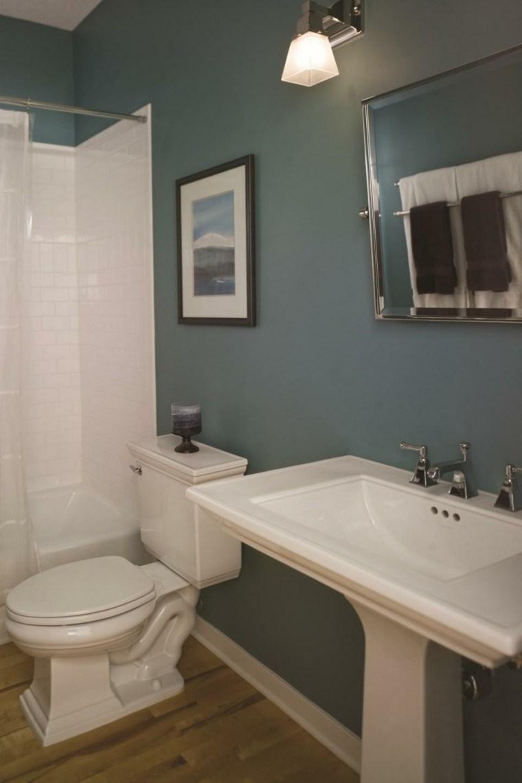 baño moderno pequeño retro azul