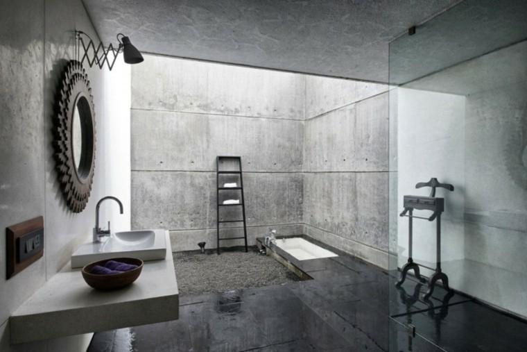 baño moderno todo cemento armado