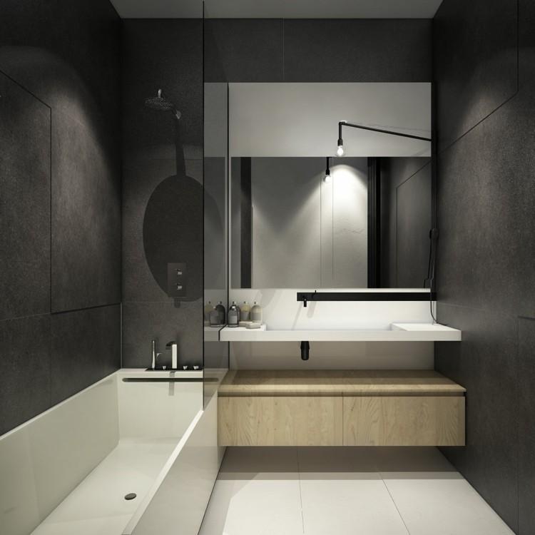 baño pequeño toallas maderas grises metales