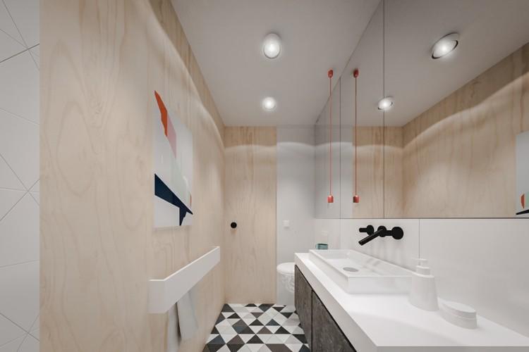 baño pequeño toallas murales cuerdas negro