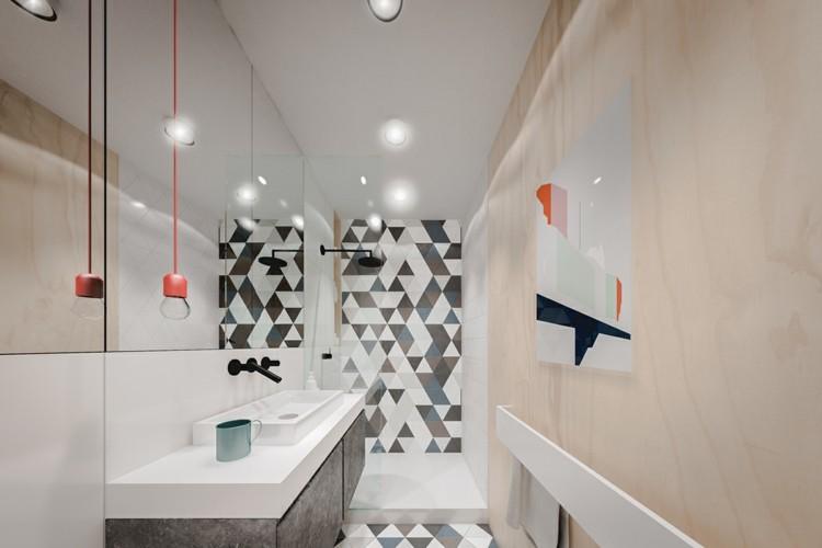 baño pequeño toallas murales led rojos