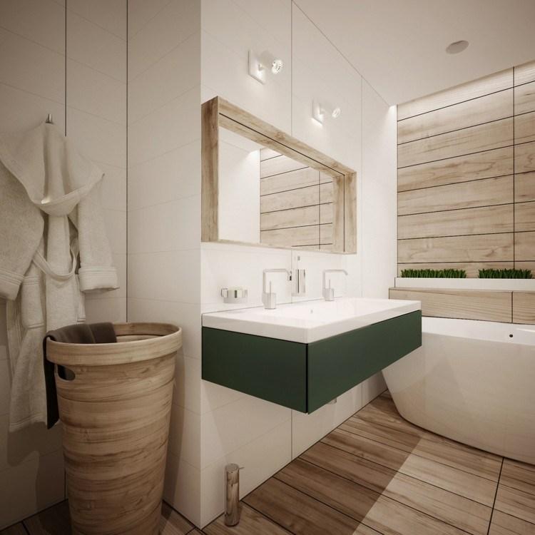 baño pequeño toallas murales natural cesto