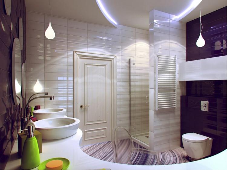 baño pequeño toallas murales verdes fresco
