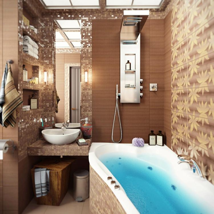 baño pequeño toallas murales diseño