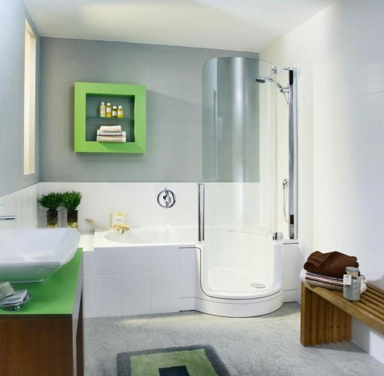 baño modrno accesorios verdes