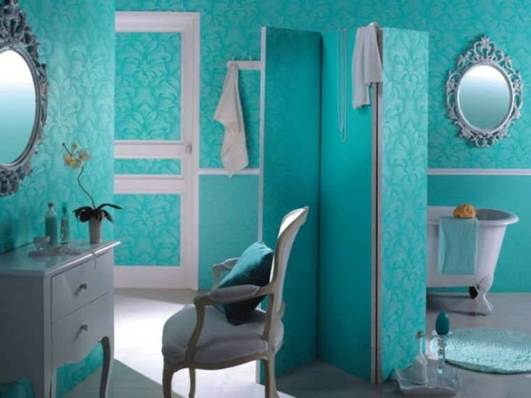 baño estilo retro color turquesa