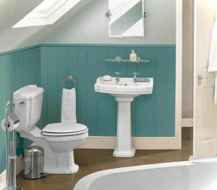 baño estilo retro madera azul aguamarina