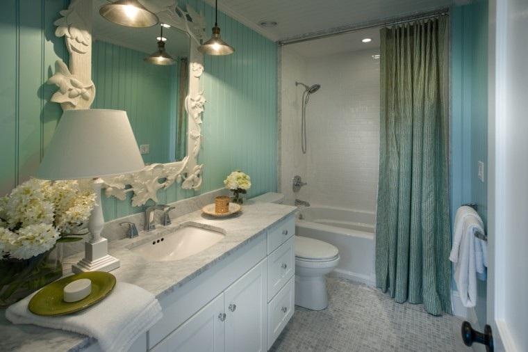 baño estilo retro verde agua