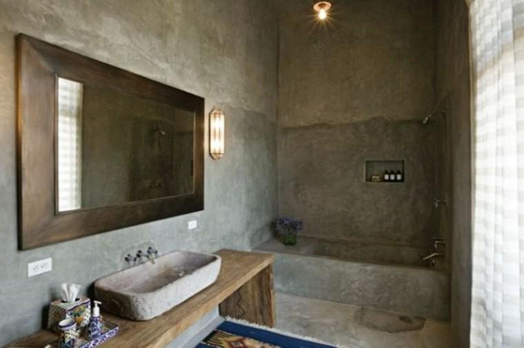 baño estilo rustico todo cemento