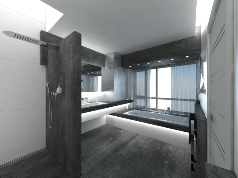 baño estilo lujoso cemento