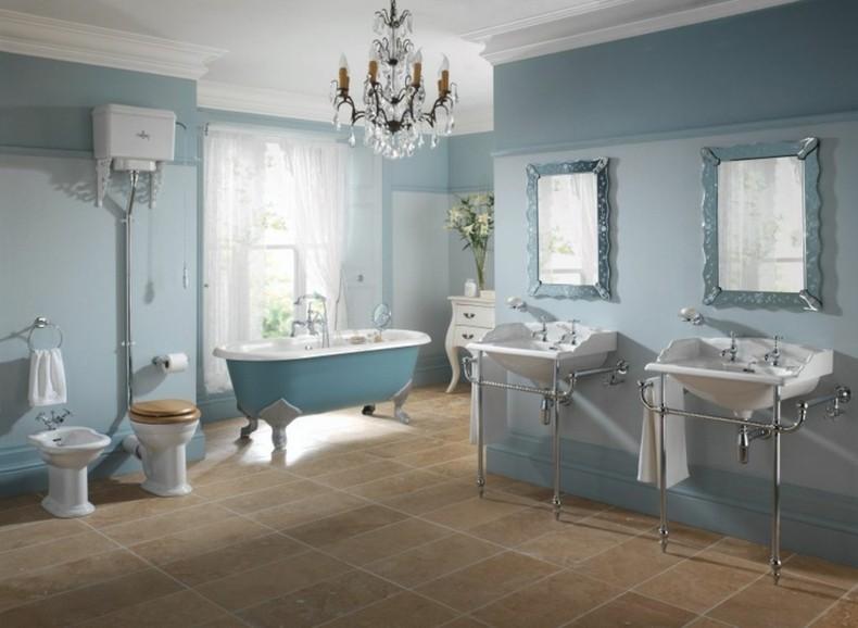 baños de color estilo retro gris azulado