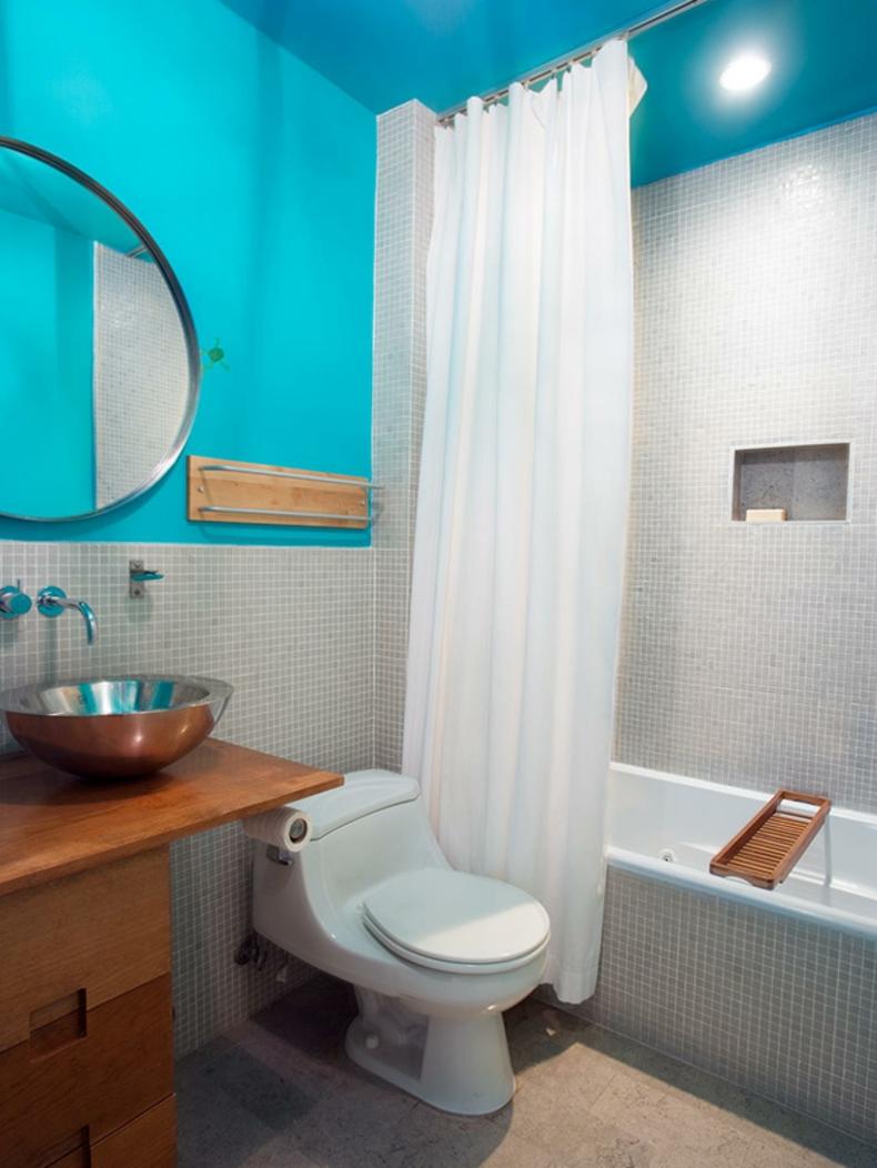 baños de color turquesa