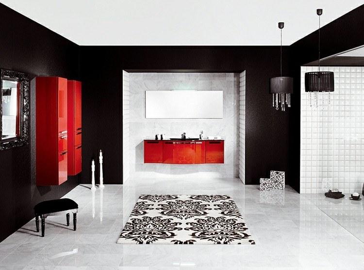 baños decoracion rojo negro alfombra