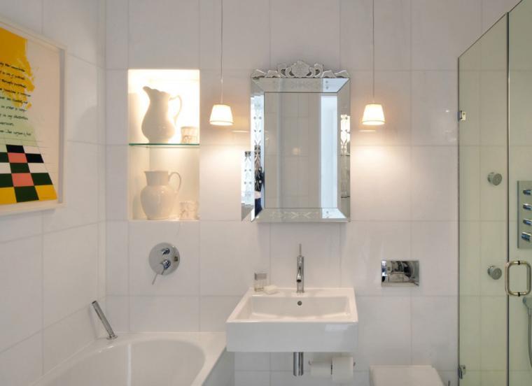 diseo de bao moderno con espejo retro bao pequeo blanco moderno
