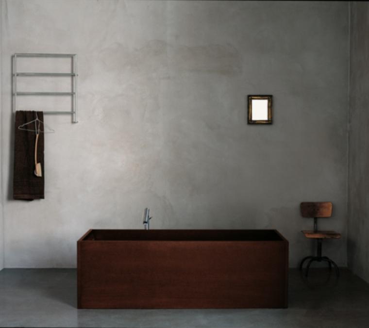 baño cemento bañera madera