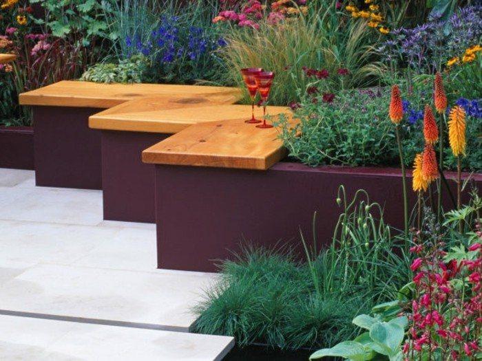 bancos preciosos flores jardin ideas