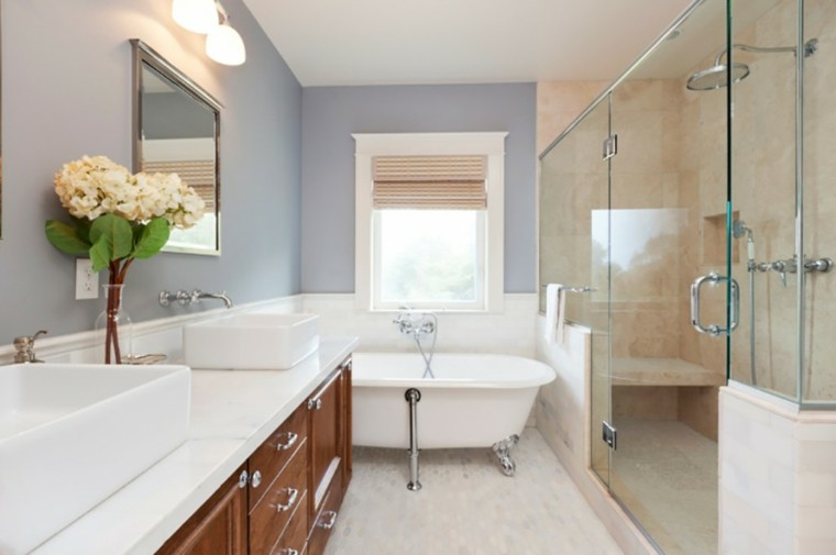 baños decoracion original azul pared muebles madera ideas