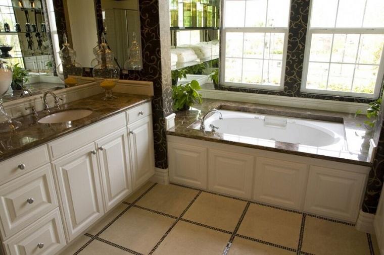 baños decoracion original encimeras marmol negro ideas