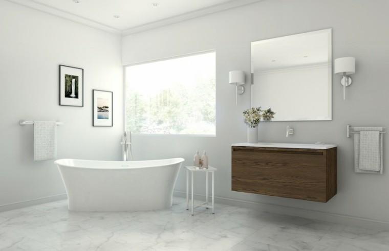 baños decoracion original espejo flores ideas