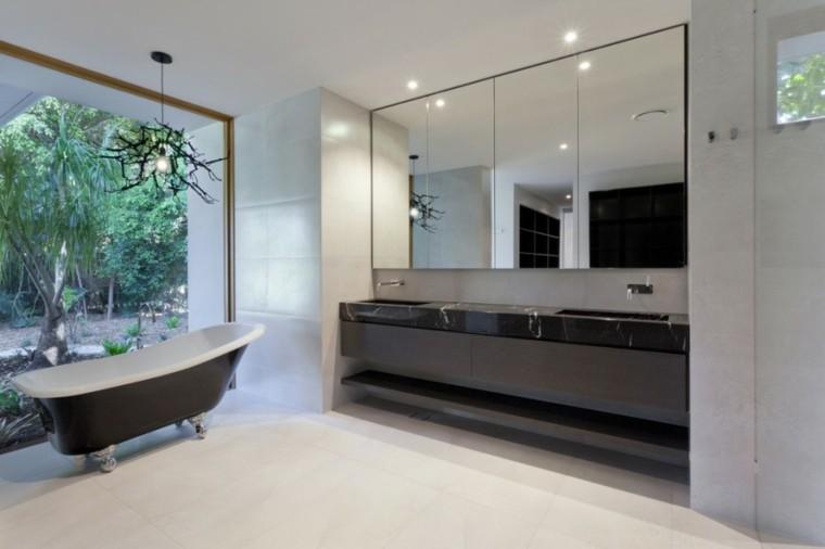 baños decoracion original espejo grande ideas