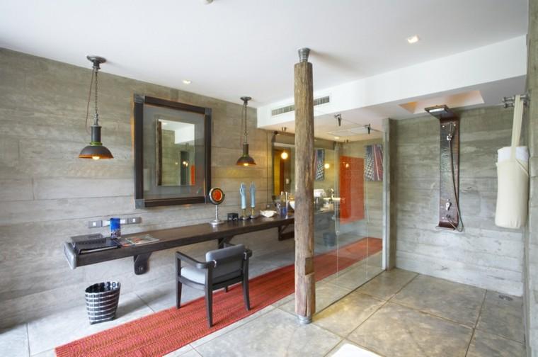 baños modernos con ducha alfombra naranja ideas