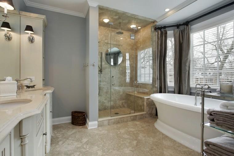 Ba os modernos con ducha 50 dise os impresionantes for Banos modernos con banera