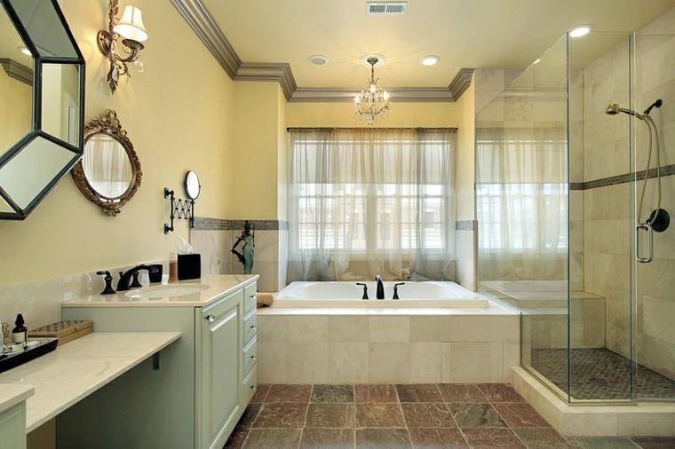 baos modernos con ducha dos espejos ideas