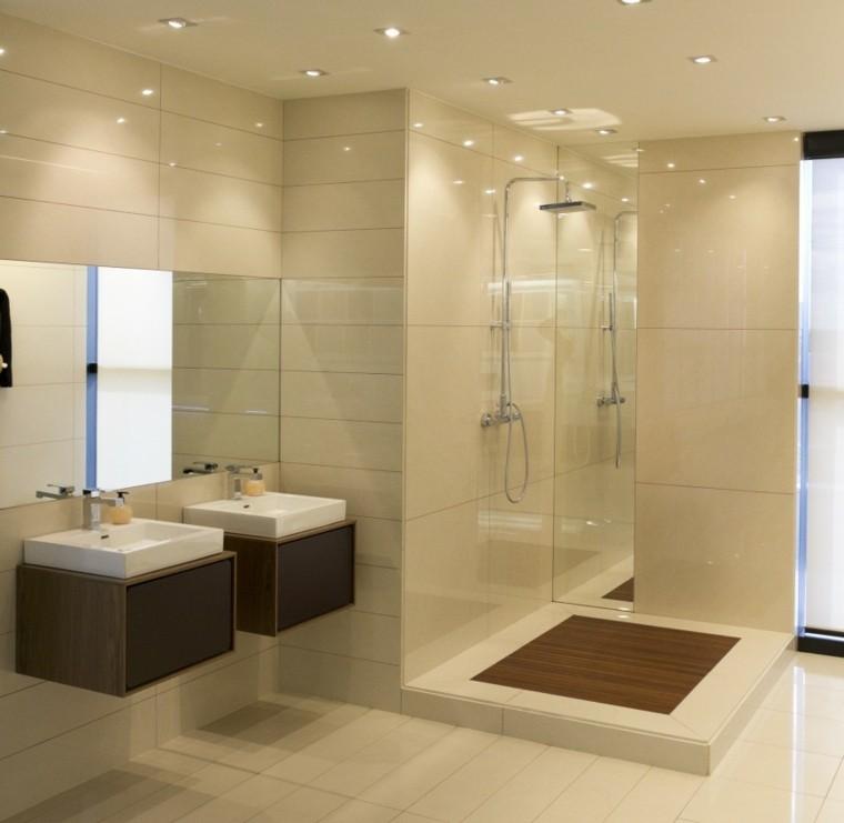 Ba os modernos con ducha 50 dise os impresionantes for Banos con dos lavabos