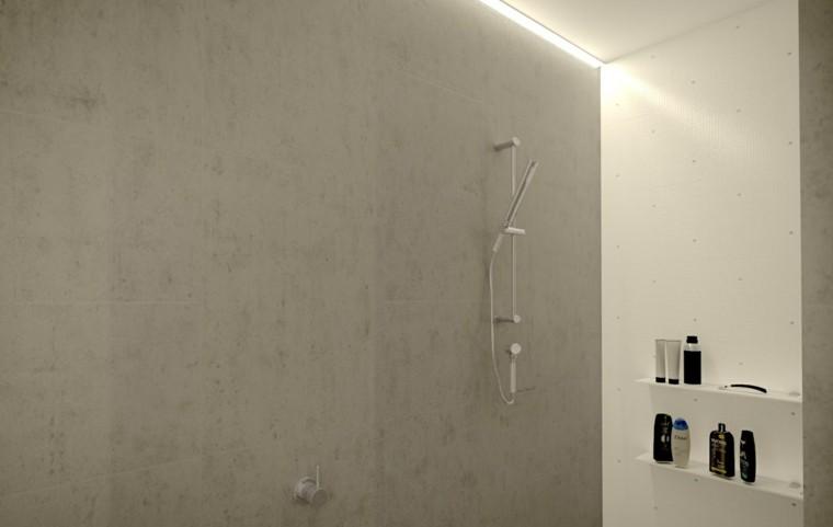 banos modernos con ducha estilo koreano estanterias ideas