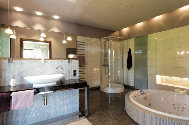 Ba os modernos con ducha 50 dise os impresionantes for Bano con jacuzzi y ducha planos