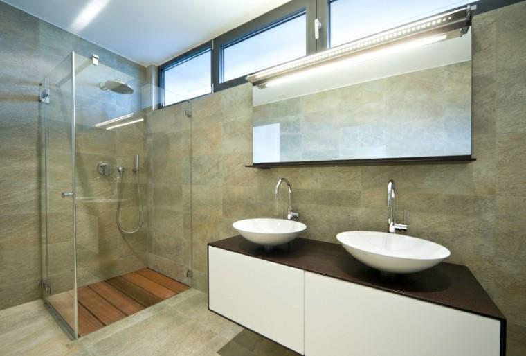 Ba os modernos con ducha 50 dise os impresionantes - Banos con suelo de madera ...