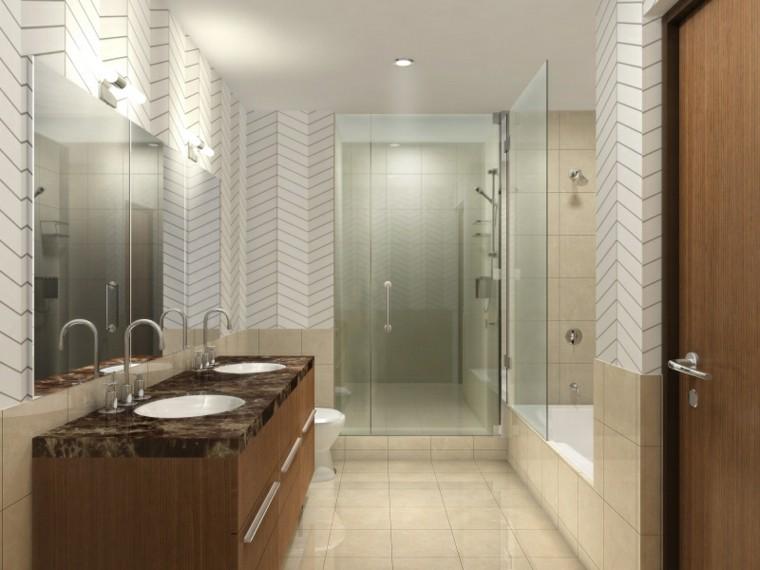 Ba os modernos con ducha 50 dise os impresionantes for Banos con tina y ducha