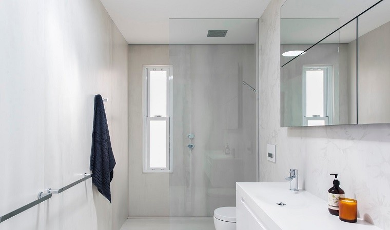 baos modernos con ducha losas grandes ideas