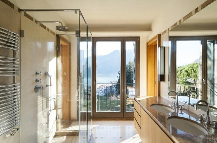 baños modernos con ducha luminosos espejo grande ideas