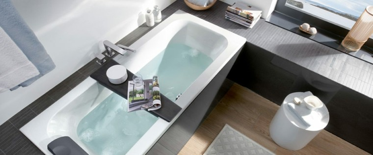 baños pequeños banera negra ideas