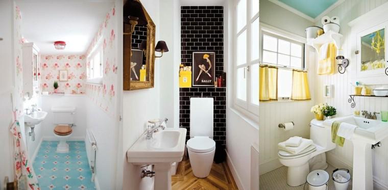 baños pequeños colores preciosos tres ideas
