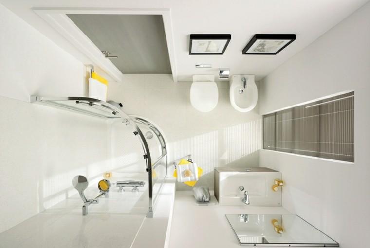 baños pequeños combinacion-blanco amarillo ideas