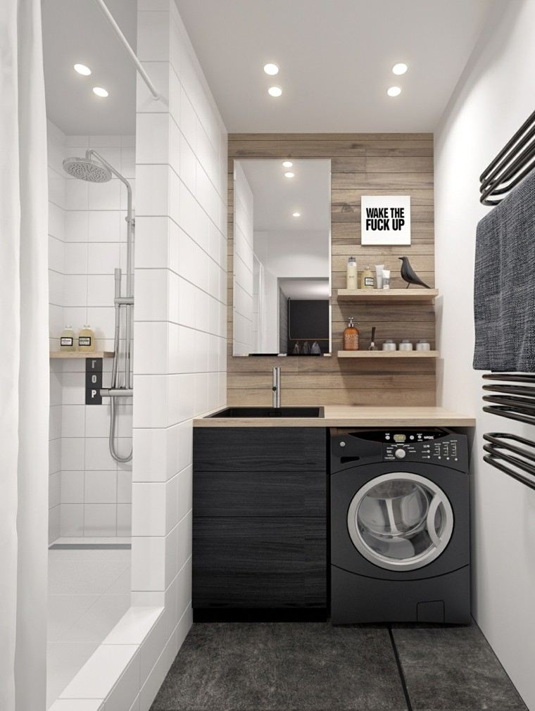 banos pequenos lavabo madera negra ideas