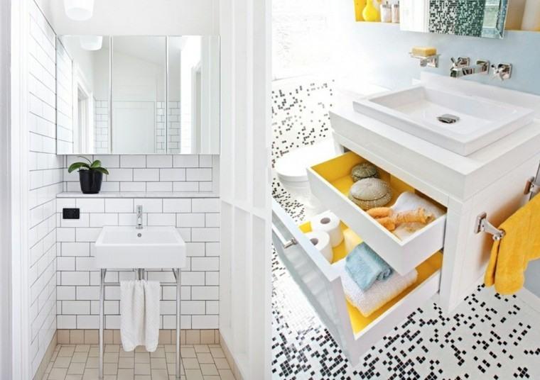 banos pequenos lavabos originales losas blancas ideas