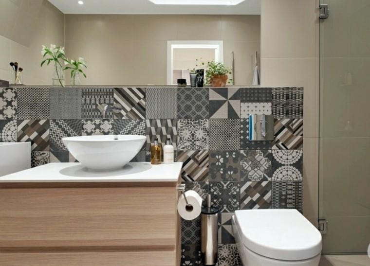 banos pequenos losas preciosas lavabo madera ideas