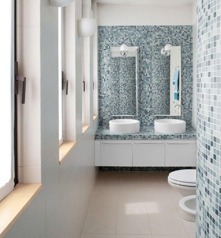 banos pequenos mosaico azul precioso ideas