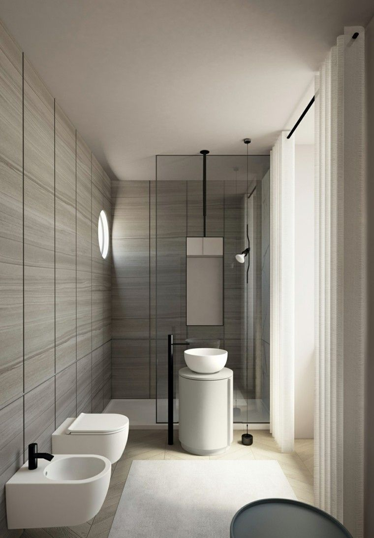 Ba os peque os 36 ideas para espacios estrechos for Ceramicas para banos modernos pequenos