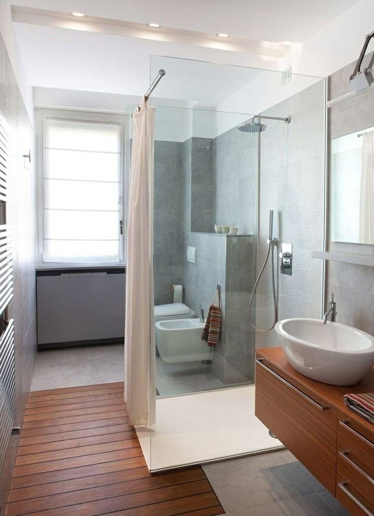 Ba os peque os 36 ideas para espacios estrechos - Suelos antideslizantes para duchas ...