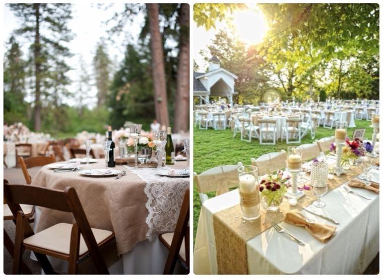 Arpillera para decorar la mesa 50 manteles r sticos for Boda en jardin decoracion