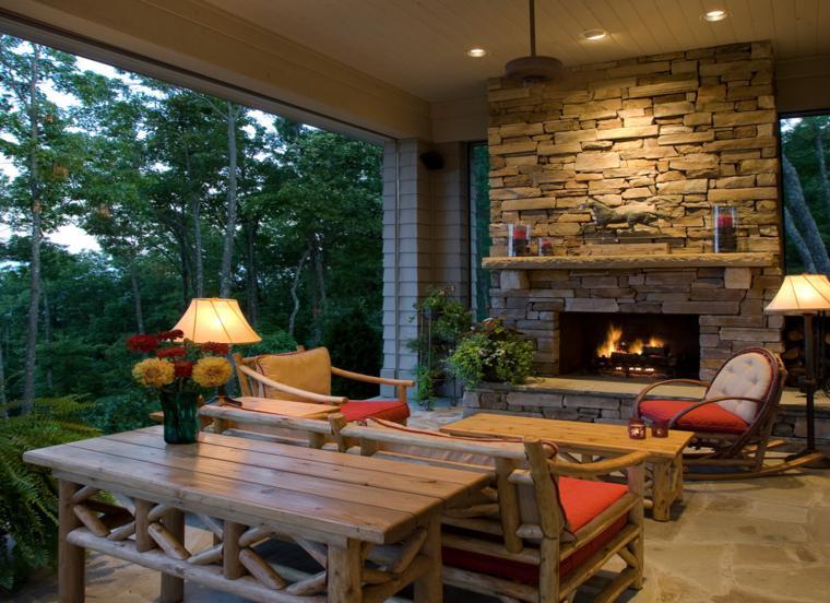 Chimeneas rusticas modernizadas 38 modelos geniales for Sala de estar de madera