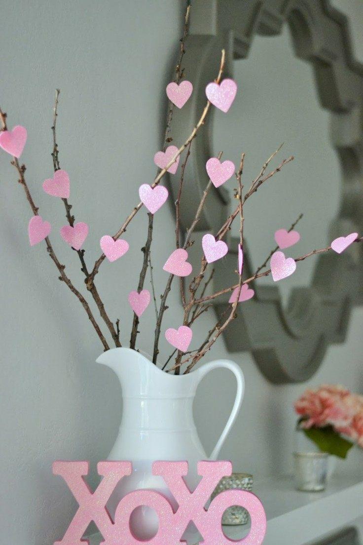 decoracion DIY bonita decoración corazones rosa