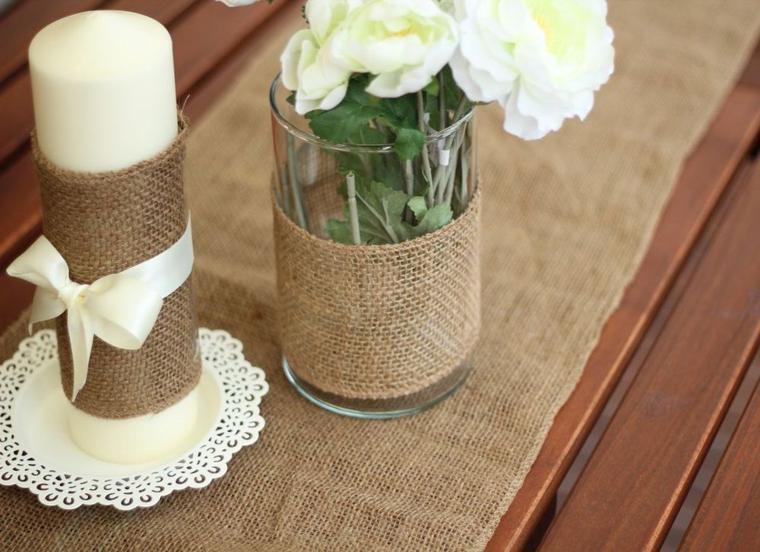 Arpillera para decorar la mesa 50 manteles r sticos - Decorar macetas con arpillera ...