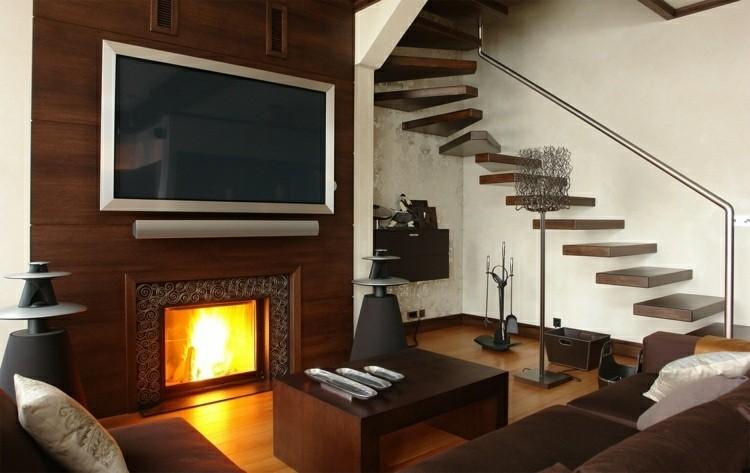 bonita sala estar madera deco